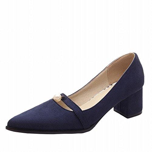 Charm Foot New Spring Womens Tacco Grosso Rubino Scarpette Scarpe Blu Pompe