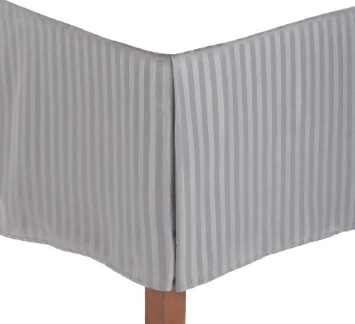Superior 1500 Series 100% Microfiber Pleated Queen Bed Skirt Stripe, Silver - 15 Inch Drop and 100% Microfiber