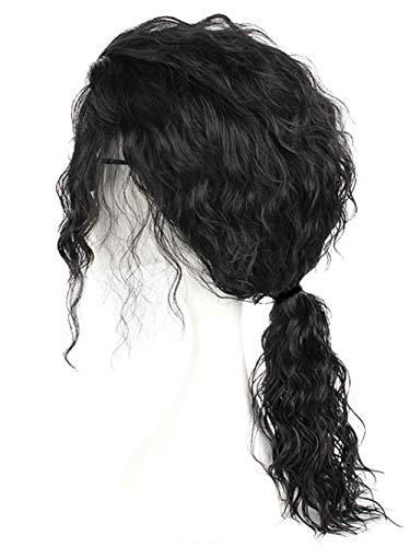 Men Wigs Long Curly Black Hair Michael Jackson Costume Wigs Punk Metal Rocker Wigs with Ponytail W175