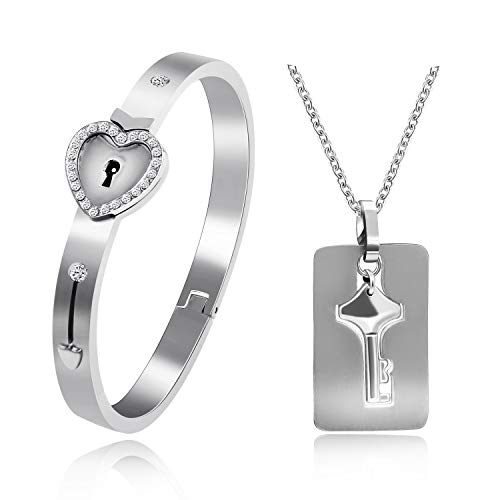 Uloveido Boys Girls Silver Color Stainless Steel Heart Lock Bracelet and Key Pendant Necklace for Men and Women with Cubic Zirconia Y474