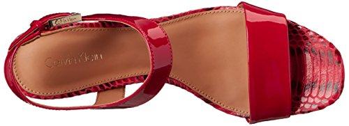 Calvin Klein Cimi Block Heel Sandal Lipstick Red GRCoNP5gi