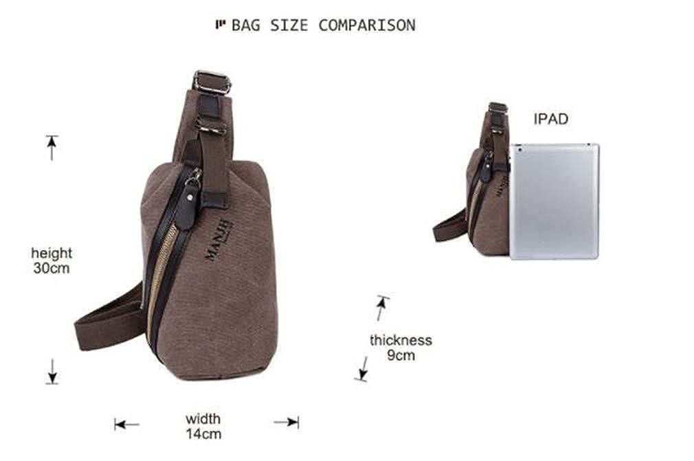 Casual Men Crossbody Bags Canvas Chest Pack Small Women Messenger Shoulder Bag Vintage Men Sling Bag Black W14H30D9CM