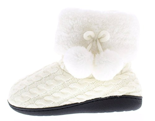 Gold Toe Women's Verica Cable Knit Sweater Cuff Pom Pom Indoor Outdoor Slipper Bootie Ivory XL 10-11 US Cable Sweater Boots