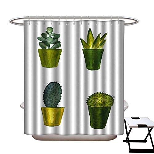 warmfamily Waterproof Bathtub Curtain Mildew Resistant Hand Drawn Watercolor Illustration Green Cactus in a Pot Isolated on White Shower CurtainW69 x L84