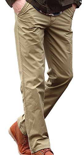 Xmenhere Men's Business Casual Loose Solid Color Straight Bamboo Pants Khaki 40