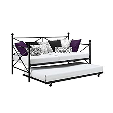 Premium Sturdy Metal Daybed W/ Roll Out Trundle Combo, Small Space Solution, Perfect For Living and Bedrooms, No Box Spring required, Accommodates 2 twin size Mattresses, Bundle comes in 1 Box