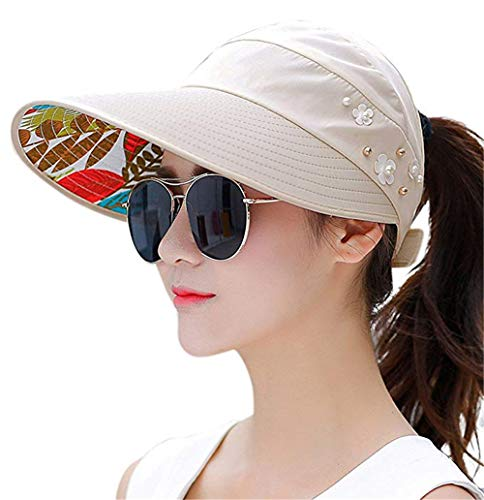 Sun Visor Hats for Women Large Wide Brim UV Protection Summer Beach Packable Cap (F-Beige(Flowers)/2) - Gardening Summer Flowers
