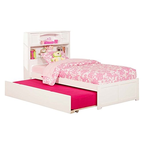 Newport Flat Panel Foot Board with Urban Trundle, Twin, White (White Twin Panel Bed)
