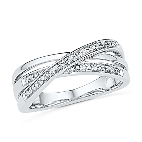 D-GOLD Sterling Silver Round Diamond Twisted Fashion Ring 0.03 cttw
