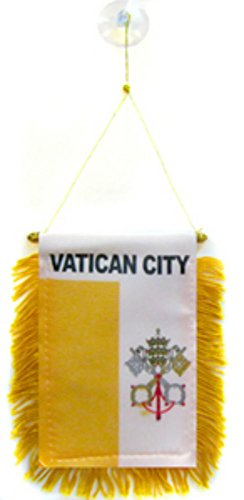 ALBATROS Vatican City Mini Flag 4 inch x 6 inch Window Banner with Suction Cup for Home and Parades, Official Party, All Weather Indoors -