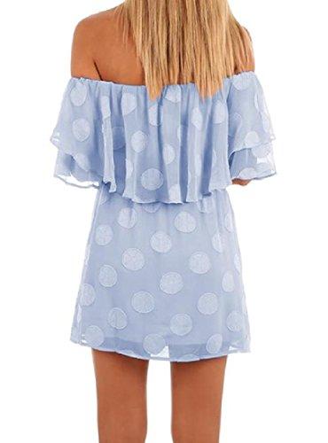 Women's Printed Cold Light Casual Comfy Chiffon Flounced Shoulder Blue Dresses 7xdwWUqR