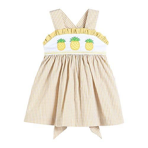 Lil Cactus 32238030093 Dress Yellow Seersucker & Pineapples