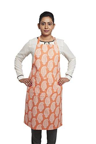 Solimo 100% Cotton Adjustable Kitchen Apron, Paisley (Orange)
