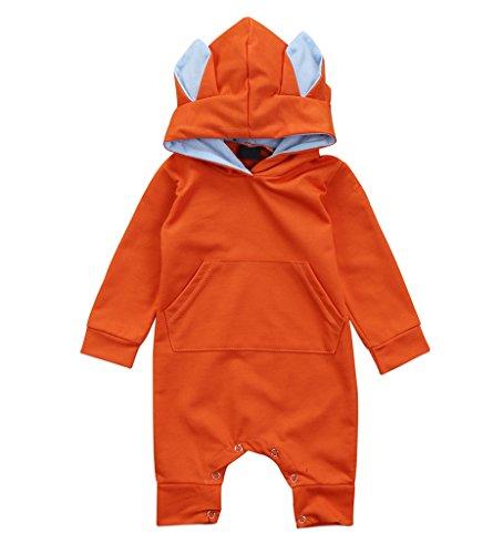 Baby Boys Girls Jumpsuit Hoodie Romper Outfit Long Sleeve
