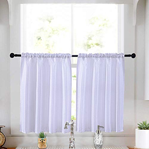 (Kitchen Curtains Spillproof Waterproof Dustproof Jacquard Window Treatment Tier Curtains for Bathroom 36 X 36 inches Set of 2 White)