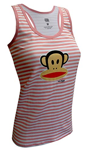 Paul Frank Striped Julius the Monkey Pink and White Racer Tank for women (Medium) - Tank Paul Frank Clothing