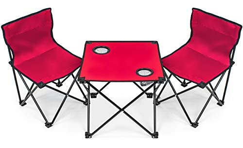 Sorbus Kids Camping Chair Table Set with Cup Holder Cooler, Foldable Frame, and Portable Carry Bag, Great for Camping, Sporting Events, Beach, Travel, Backyard, Patio, etc (Kid Chair Table Set - Red)
