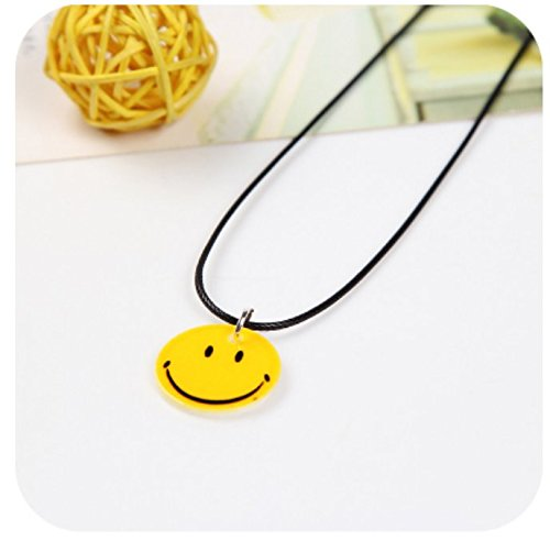 Doll Face Necklace - Jewelry Gift Woman Yellow Smiley face Necklace Pendant Women Girls (Smile Trumpet