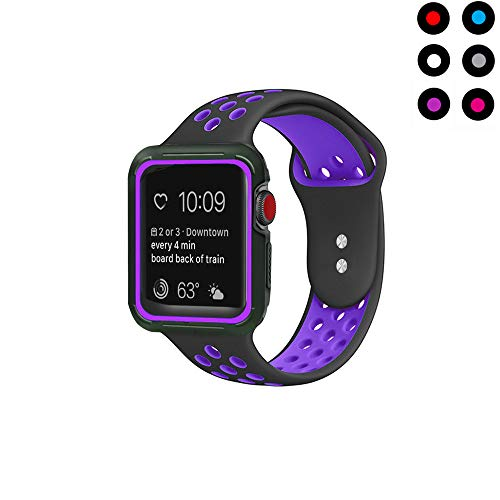 Compatible with Apple Watch Band with Case 38mm 40mm Vitech Soft Silicone Sport iWatch Band with Shock-Proof Protective Case for Series 3/2/1 (38mm) Series 4 (40mm) (Black/Purple, 38mm/40mm S/M)