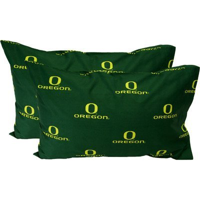 College Covers Oregon Ducks, Cotton, 200 - Thread count, Envelope closure type Pillowcase set, Standard (20 x 30 inches), White by College Covers