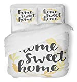 Emvency 3 Piece Duvet Cover Set Breathable Brushed Microfiber Fabric Sweet Quote in Vintage Golden Wreath Handwritten Lettering Modern Calligraphy Cute Bedding Set with 2 Pillow Covers Twin Size