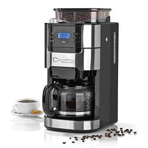 Barista Cafetera de filtro con molinillo   Incluye una jarra de vidrio para hasta 12 tazas de café   Para café en grano…