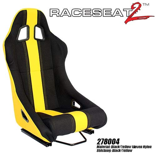 Performance World 278004 RaceSeat2 Racing Black Nylon w/Yellow Accents Seat Each