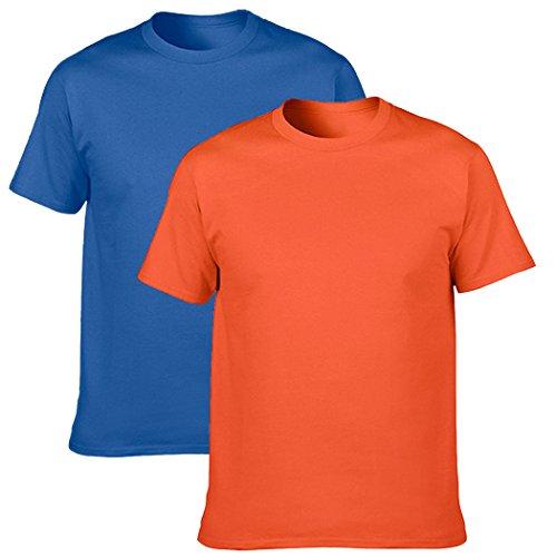 (NewDenBer Men's Classic Solid Basic T-Shirt-DR,O,L)