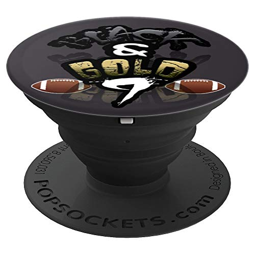 Black & Gold New Orleans Football Jersey #9 - Louisiana City PopSockets Grip and Stand for Phones and Tablets (Best Running Back In College Football 2019)