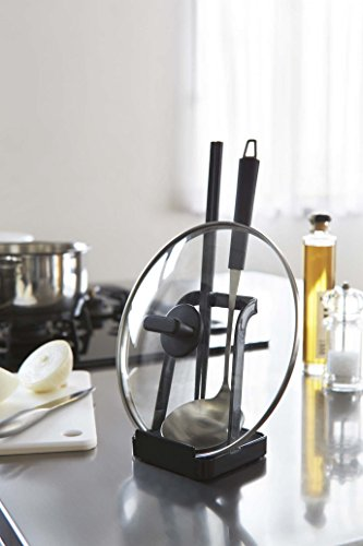 Kitchen YAMAZAKI Home 2249 Tower Ladle Holder-Lid Stand for Utensils in Kitchen, Black pot lid holders
