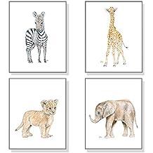 Safari Nursery Art Jungle Nursery Prints Set of 4, Childrens Room Decor Wall Art, Baby Animal Watercolors Elephant Giraffe Lion Zebra
