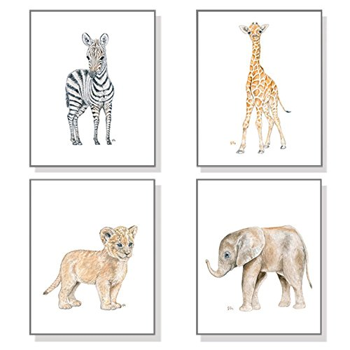 Safari Nursery Art Jungle Nursery Prints Set of 4, Childrens Room Decor Wall Art, Baby Animal Watercolors Elephant Giraffe Lion - Priority Usps Mail International