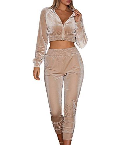 Cropped Velour (Dellytop Women Velvet Tracksuit 2 Piece Matching Sweat Suit Cropped Jacket Sweatpants Jogger Outfit)