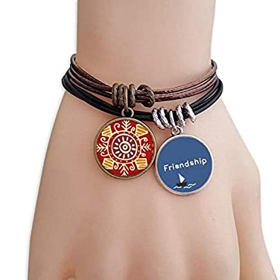 YMNW Red Eyes Mexico Totems Ancient Civilization Friendship Bracelet Leather Rope Wristband Couple Set Estimated Price -