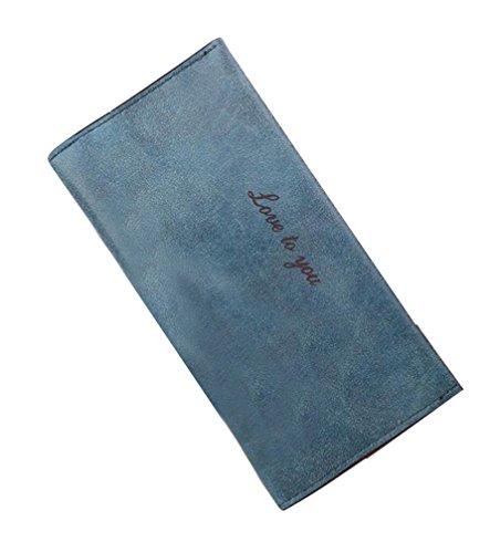 Mujer Chica cartera Billetera larga de cuero PU y Gran capacidad para Tarjetas café Azul oscuro