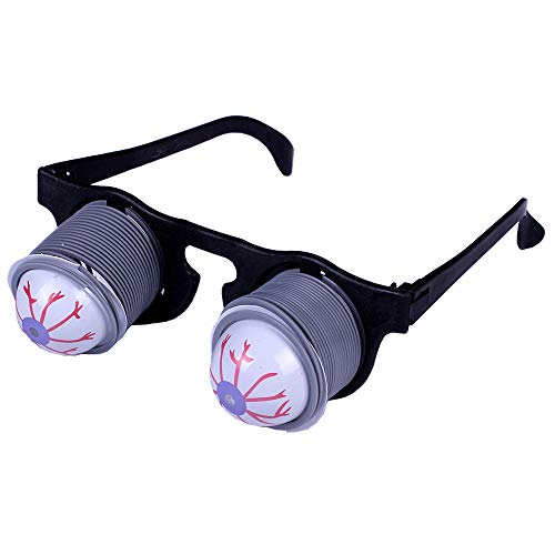 Funny Prank Disguise Scary Drooping Spring Eyeball Glasses with Bloodshot for Halloween Party Cosplay]()