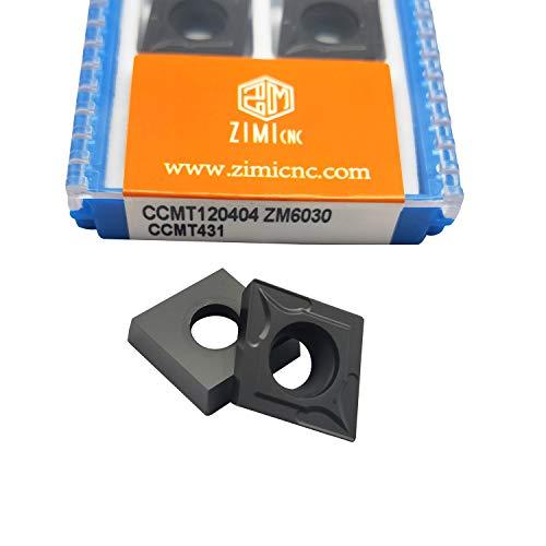 ZIMI 10 PCS CCMT120404 ZM6030 Hartmetall-Einsatz, indexierbare CNC-Dreheinsätze, geeignet für die Halbbearbeitung von Stahlteilen