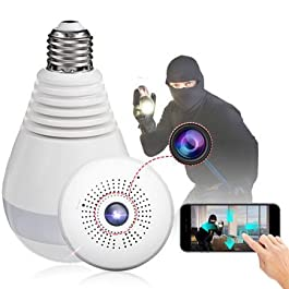 1080P Light Bulb WiFi Panoramic IP Security Surveillance System Camera with IR Motion Detection, Night Vision, 2-Way Audio for Home, Offices (Pack of 1)