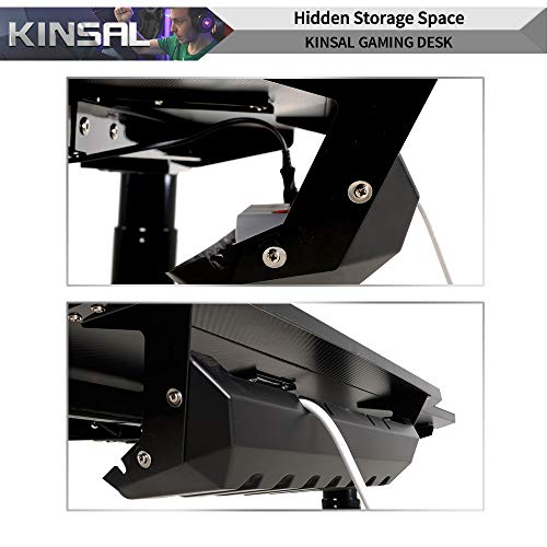 Kinsal Z-Shaped Gaming Desk Computer Desk Table with Fighting RGB LED Ambience Lighting and Large Size Mousepad, Racing Table E-Sports Durable Ergonomic Comfortable PC Desk (Grey) by Kinsal (Image #5)
