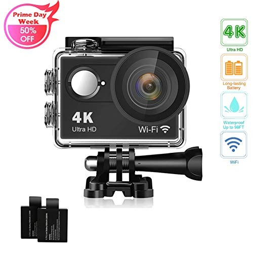 (Action Camera 4K 16MP Underwater Waterproof Camera 170° Wide Angle WiFi Sports Cam with 2 Batteries and Mounting Accessories Kit)