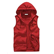 SODIAL(R) Fashion Men Sleeveless Hoodies Vest Casual Sports Sweatshirt Red L