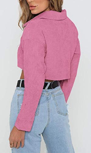 Denim Jacket Sleeve Long Button Down Cropped Pink Casual Autumn security Women's 1BzC8B