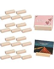 Rechthoekige kaarthouder, 20 stuks bruiloft plaats kaarthouders houten kaarthouders voor bruiloft partij tafel nummer plaats kaart plaats kaarthouders foto stand foto's prijskaartjes (7x2.3x1.7cm)