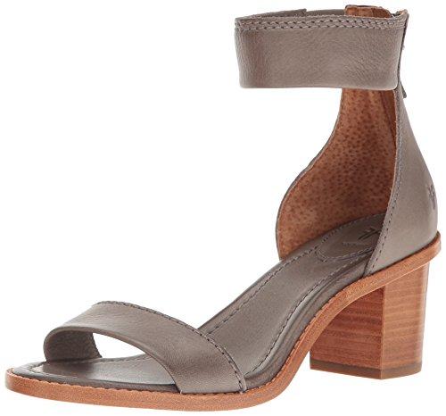 FRYE Women's Brielle Back Zip Dress Sandal, Charcoal, 8.5 M - Ankle Strap Heels Frye