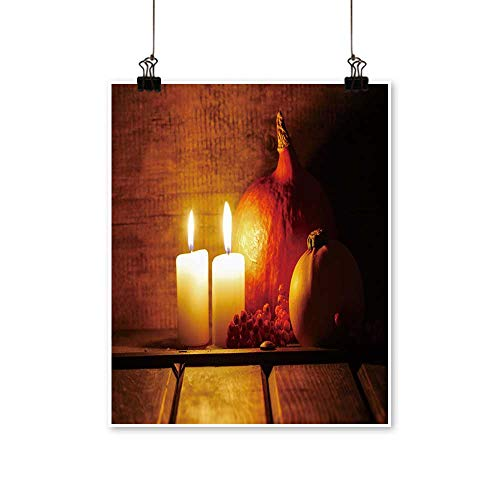 1 Piece Wall Art Painting Two Candles Burning in Wooden hut Big Orange Pumpkin in The Background Halloween Setting Living Room Office Decoration,28