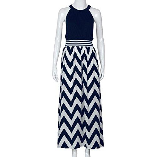vestido noche Maxi Sundress playa de Vestido Mujer Azul Amlaiworld Boho largo xZqAYwI