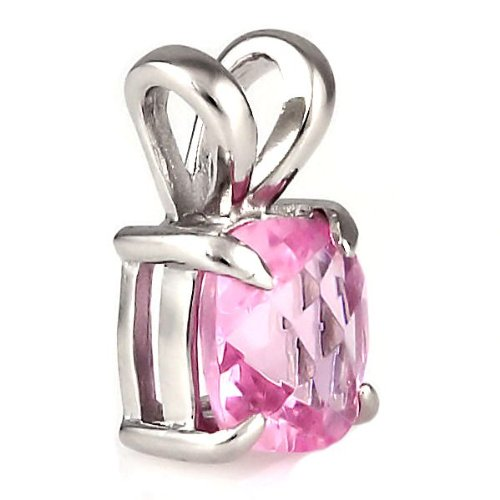 (Preslie: 3.25ct Cushion-cut Simulated Pink Sapphire Solitaire Pendant 925 Sterling Silver, 0006)