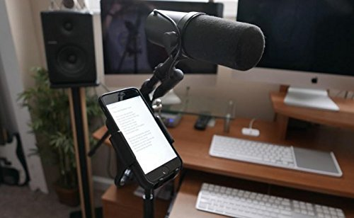 AccessoryBasics Music Boom Mic Microphone Stand Smartphone Mount w/360° Swivel Adjust Holder for Apple iPhone X 8 7 Plus 6s Samsung Galaxy S8 S9 Note Google Pixel XL LG v30 phones by Accessory Basics (Image #5)