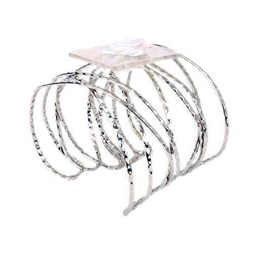 Floral Corsage Bracelet - Hammered Faux Silver - Nina Cuff ()