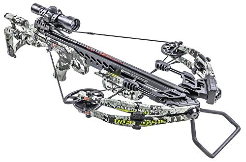 Killer Instinct Crossbows Ripper 415 FPS Crossbow Hunter's Kit with Backpack Case, NAP Broadheads, 3 Arrows, Quiver, Rope Cocker, Rail Lube, and IR Scope
